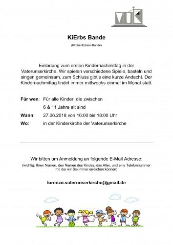 !!! UNSERE 'KiErbs-Bande' startet am Mittwoch, den 27.06.2018 ganz NEU !!!